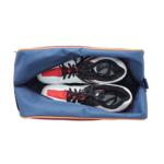 sötétkék-bordó-narancssárga cipőtartó táska