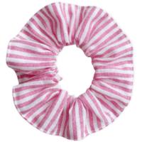 Scrunchie hajgumi - PINK-FEHÉR CSÍKOS