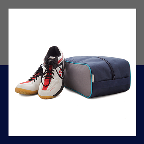 sötétkék-sötétszürke-türkiz cipőtartó táska