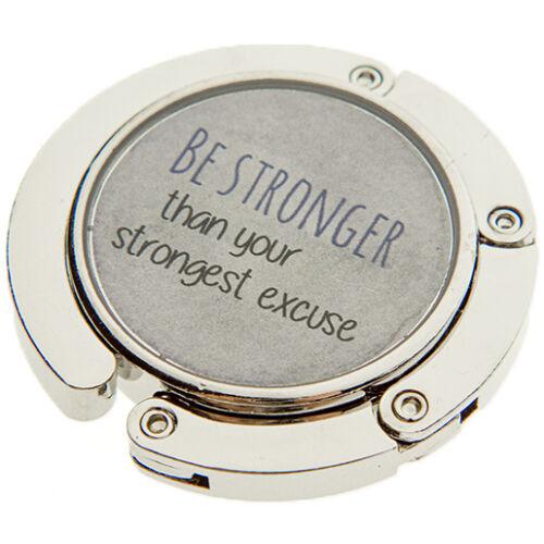 """""""BE STRONGER THAN YOUR STRONGEST EXCUSE"""" táskatartó ékszer"""